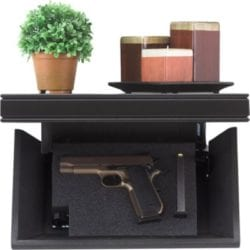 Tactical Walls 812 Pistol-Length Shelf with Rope Trim Magnetic Lock - Cherry