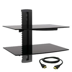 Megamounts 97093711M Tempered Glass Double Shelf Wall Mount with HDMI