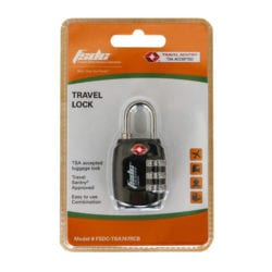 FSDC Resettable 3-Dial Combination Lock w/ Steel Shackle, TSA Accepted, Single Pk.