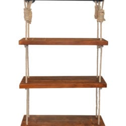 Today's Mentality Jungle Industrial Modern Pipe Wall Shelf with Walnut Wood Finish and Adjustable Rope, Gray