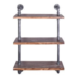 Today's Mentality Copenhagen Industrial Floating Silver Brushed Gray Pipe Wall Shelf with Pine Wood